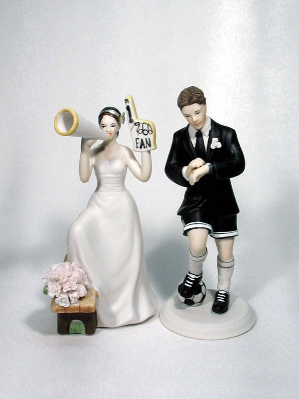 Soccer Groom and Fan Bride Cake Top